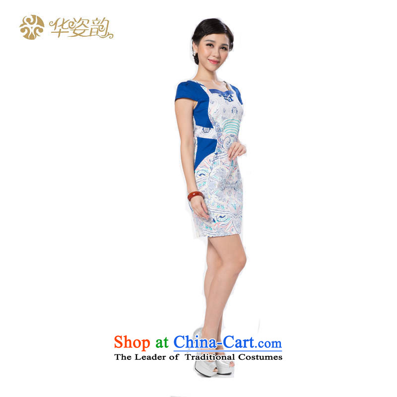 The following summer Gigi Lai Hua qipao retro style qipao improved graphics Sau San thin cheongsam dress qipao group of female qipao gown qipao China wind improved blue?XL
