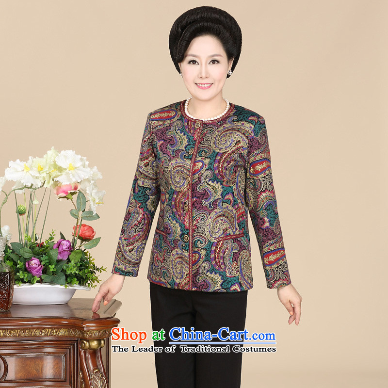 In the number of older women's hpbrother2015 fall inside the new middle-aged female replacing Tang dynasty round-neck collar long-sleeved stylish temperament Mother Women's clothes such as map color?XXXL Jacket