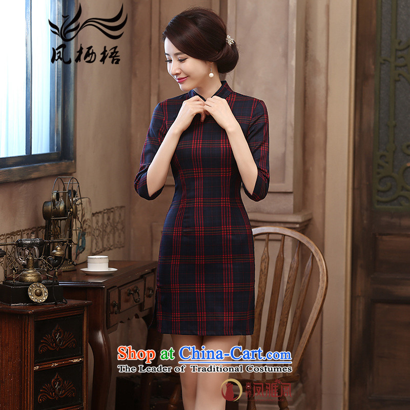 7475 2015 Autumn Fung migratory new retro in the Republic of Korea Air-style qipao cuff plaid qipao DQ15174 Sau San cotton red, S