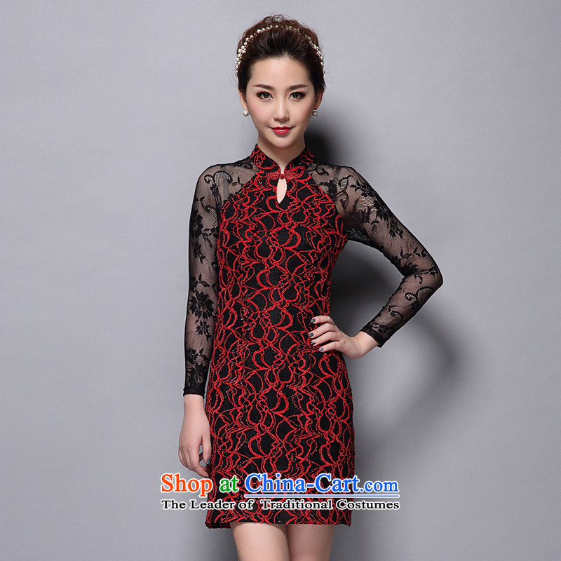 Replace the spring and autumn retro AI.GI Mock-neck sexy Lace Embroidery cheongsam look Sau San long-sleeved dresses female larger 47Y8641  XXXL red