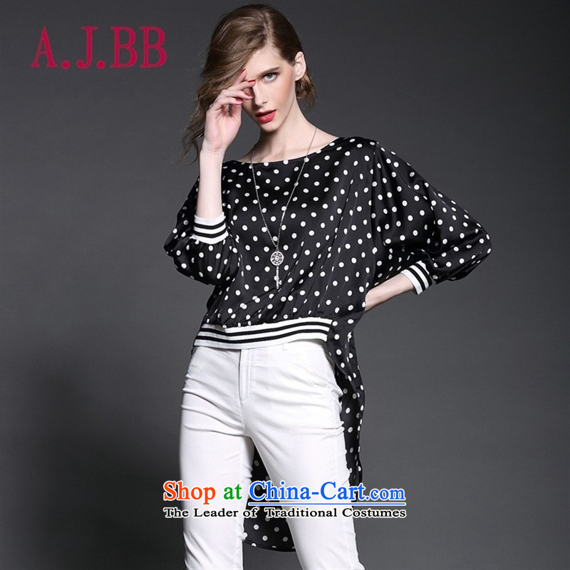 Only the 2015 summer attire vpro new western blouses 7 cuff wave point stitching front stub bar after long-T-shirt black?L