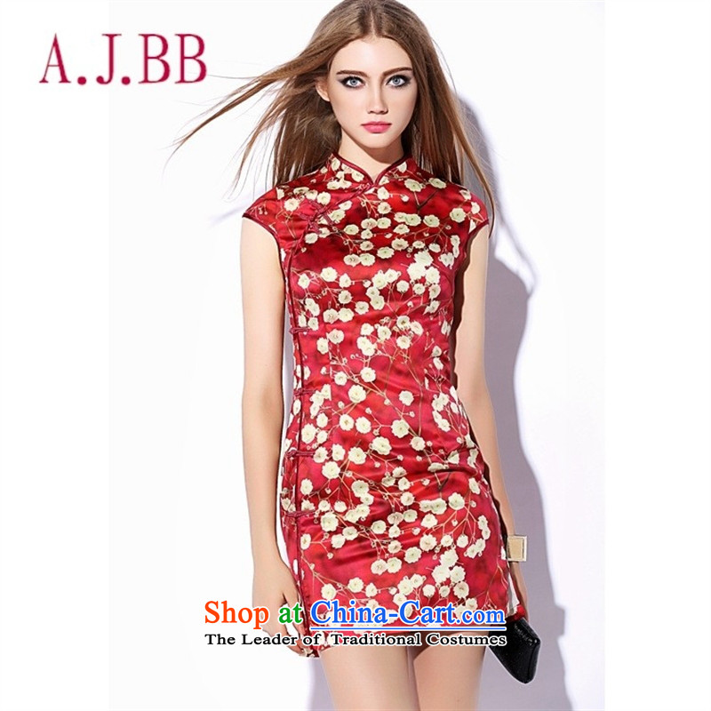Vpro only dress China wind fall 2015 new national women's need for cash collar package red gold stamp   cuff cheongsam red XXL