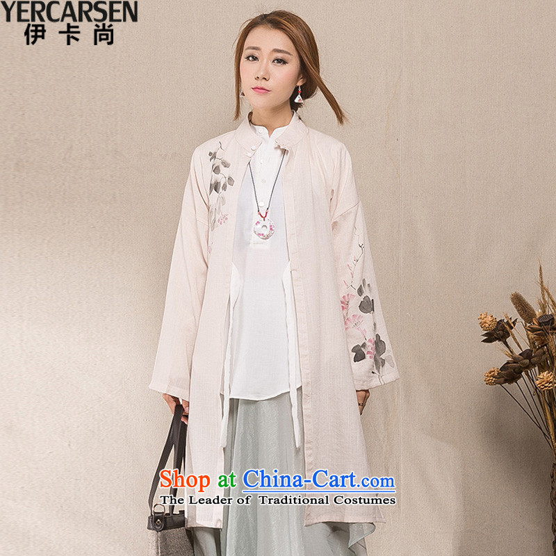 Ica is (YERCARSEN) cotton linen china wind Han-female cardigan autumn 2015 installed new hand-painted wind long female jacket m White�S