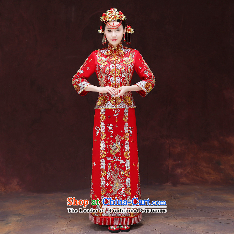 Tsai Hsin-soo Wo Service dream new retro Chinese wedding dresses bows services use Bong-sam Hui Har dragon costume show previous Popes are placed kimono wedding dress uniform set of clothes-hi + model Head Ornaments S Breast 84