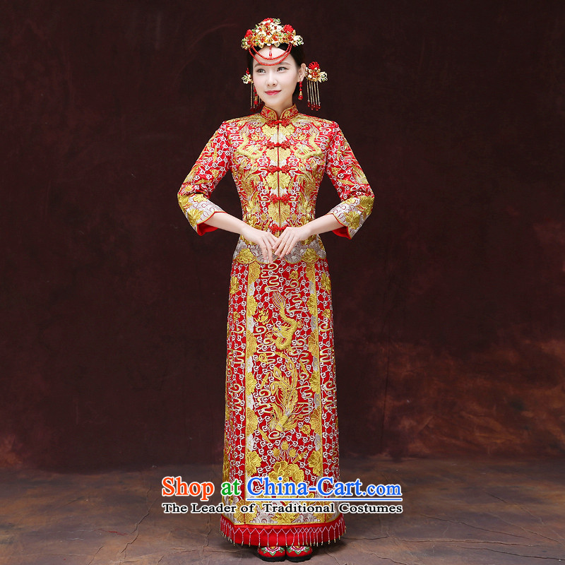 Tsai Hsin-soo wo service of the dragon and the use of the bride bows service skirt wedding dress red Chinese wedding retro wedding dress clothes set of new cheongsam + model Head Ornaments�L Breast 92