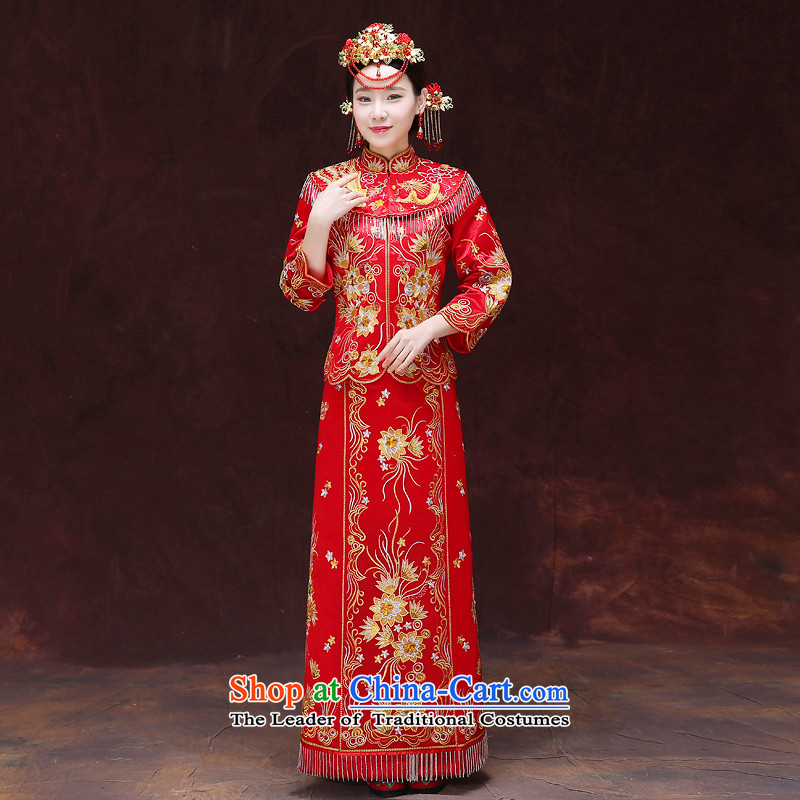 Tsai Hsin-soo Wo Service dream Chinese Dress Dragon use wedding costume Sau Wo service serving women's wedding dress red retro qipao set of clothes bride + model Head Ornaments聽S Breast 84