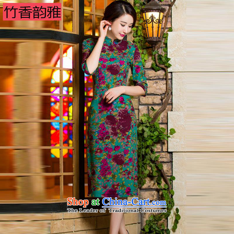 Chuk Heung 2015 autumn were installed in the thin video     retro large cuff improved linen long skirt qipao Samui red L