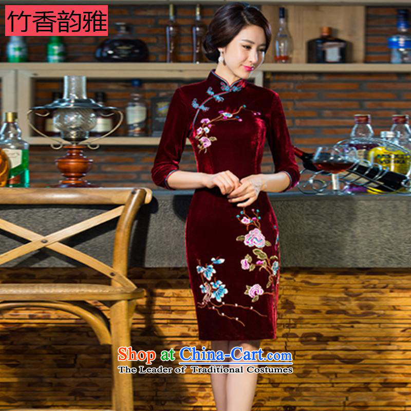Chuk Heung were 2015 autumn and winter new moms with scouring pads in the skirt qipao Kim sleeve length_ Improved retro wedding blue聽XL