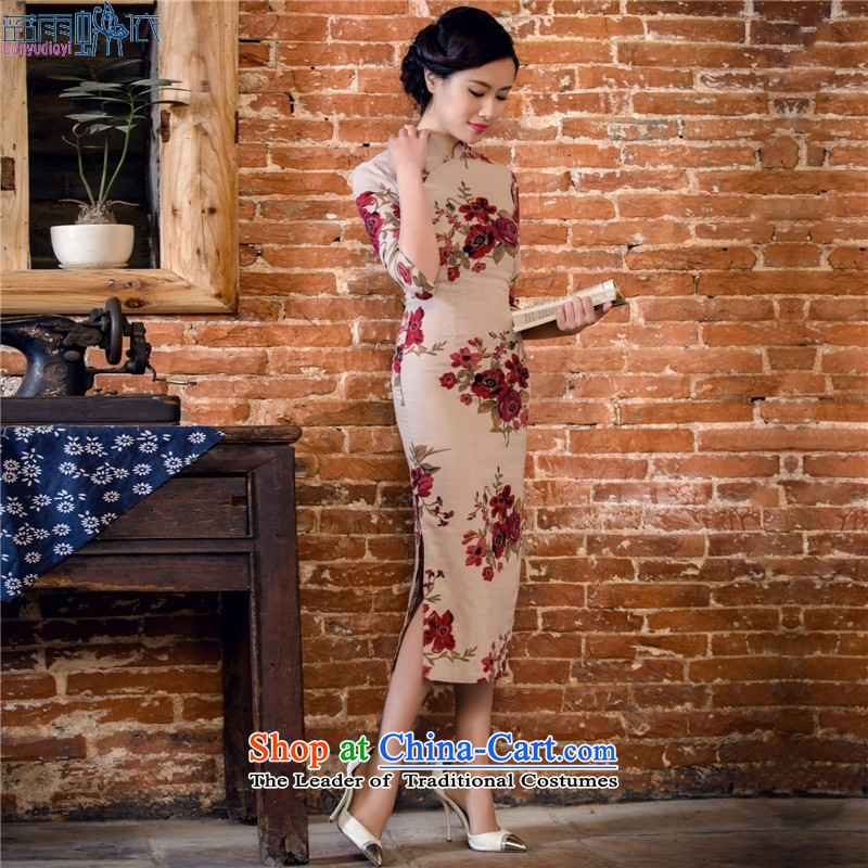 The spring and summer of 2015 new products xl cotton linen, Stylish retro long qipao gown dresses Garden 2061 Garden?L