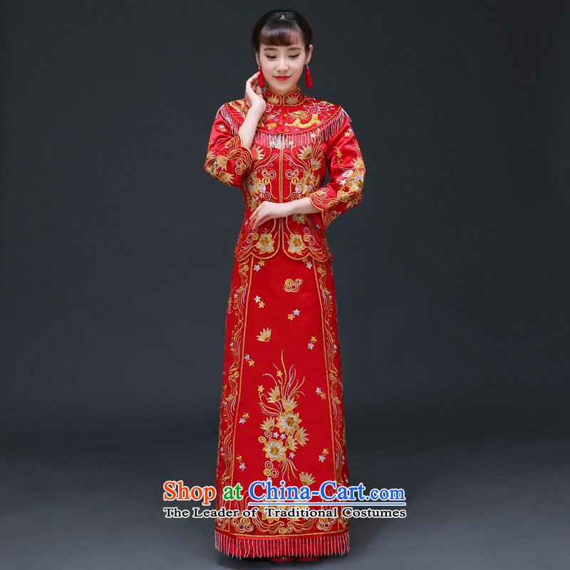 The Royal Advisory Groups to show friendly new bride Chinese Dress Chinese Classics Hei services serving drink qipao and Phoenix use the wedding dress Chinese wedding Bong-Koon-hsia previous Popes are placed a set of clothes + head-dress is recommended?S
