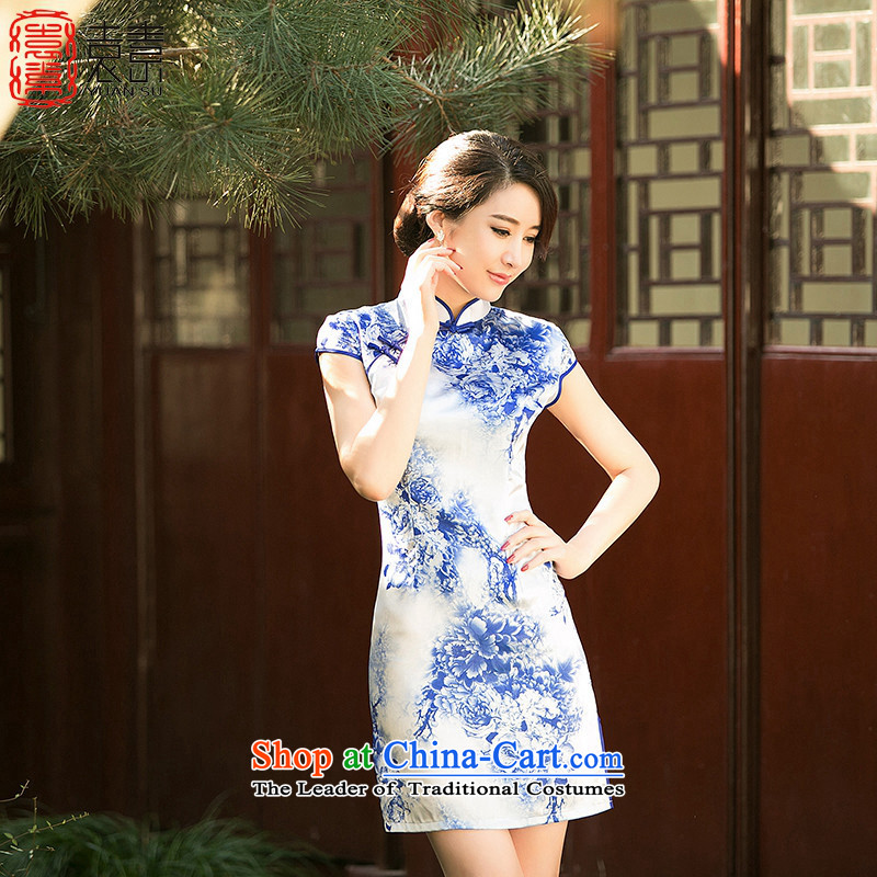 Yuan of blue?qipao Summer 2015 retro improved cheongsam dress short-sleeved porcelain cheongsam dress new ethnic women?Z 050?porcelain color?S