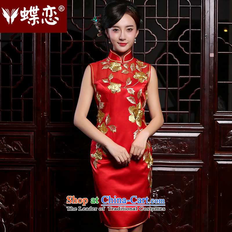 The Butterfly Lovers in summer and autumn 2015 new heavyweight silk embroidery improved qipao stereo marriages bows dress red - 20 days pre-sale燲XL