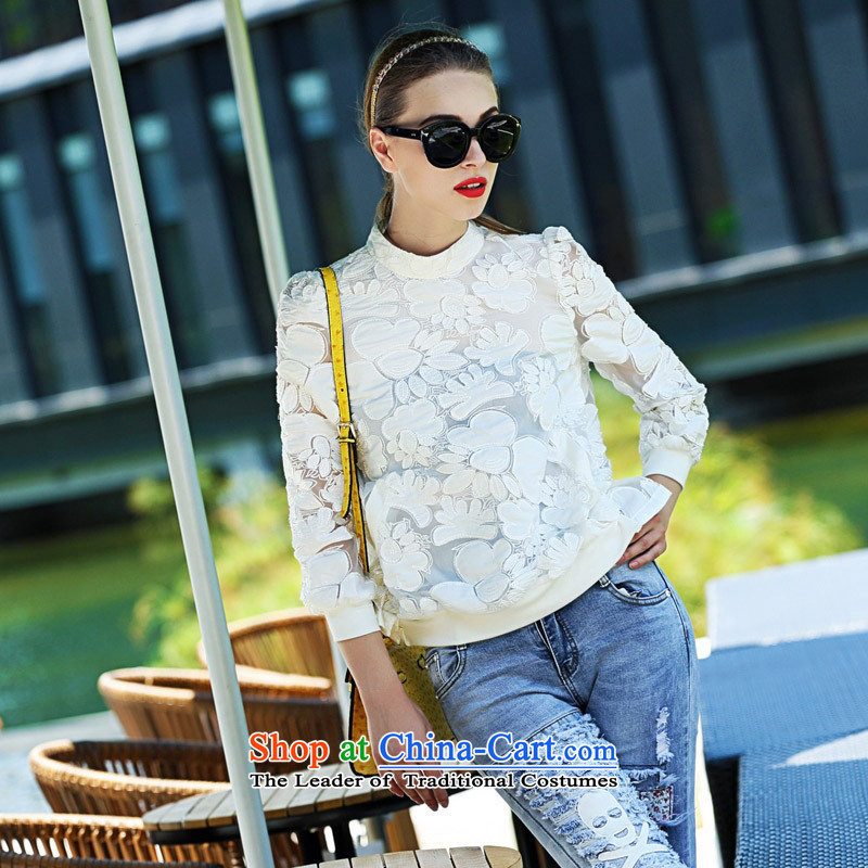The main Shenzhen women fall new western style and sexy put engraving embroidered jacket white S