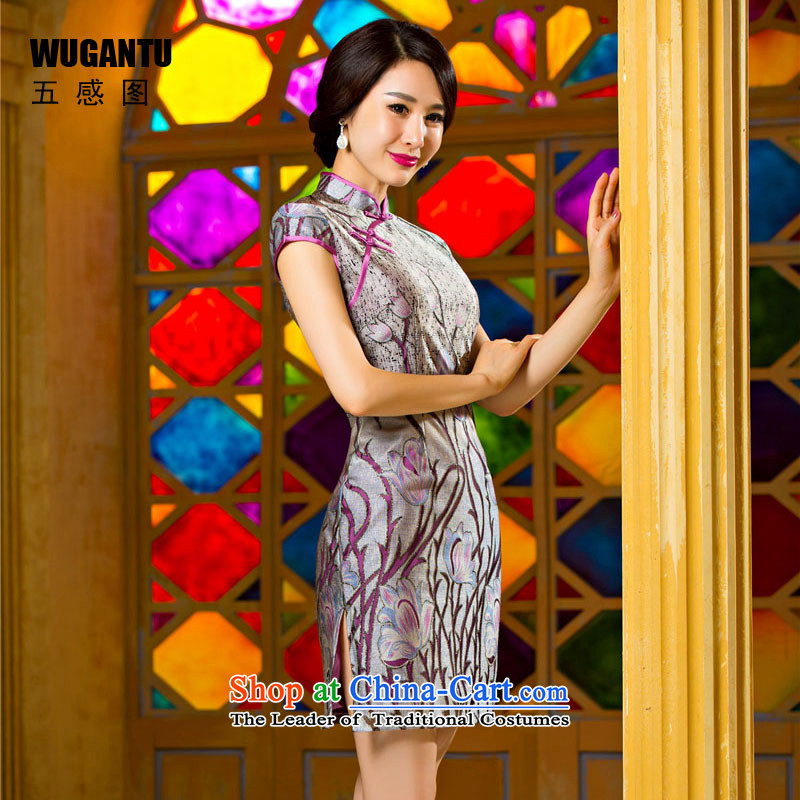 The five senses figure during the spring and autumn Stylish retro Sau San dresses daily sexy elegant tulip lace short cheongsam dress photo color燣