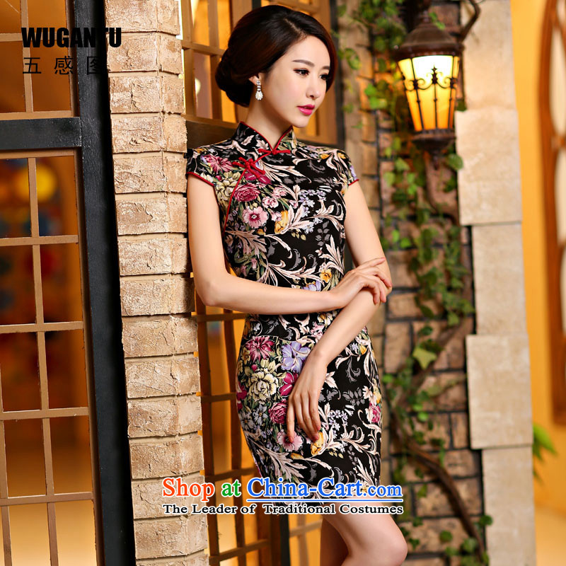 The five senses figure a new summer of daily improved stylish elegance cheongsam dress retro short qipao ethnic Sau San picture color S
