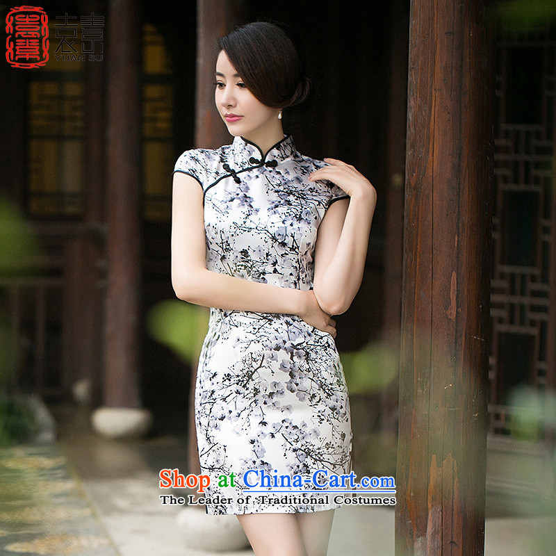Yuan of Pui Mui retro qipao summer retro cheongsam dress new improved daily cheongsam dress temperament and stylish ethnic women QD 104 pictures color S