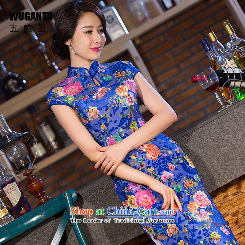 The five senses the fall of daily figure stylish improved graphics thin silk long Sau San cheongsam dress dresses China wind blue�XL