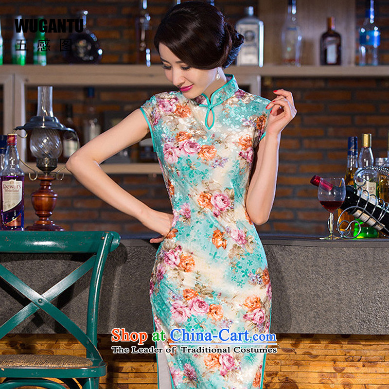 The five senses figure new autumn long qipao retro-cashmere banquet everyday dress qipao fresh floral China wind suit?L