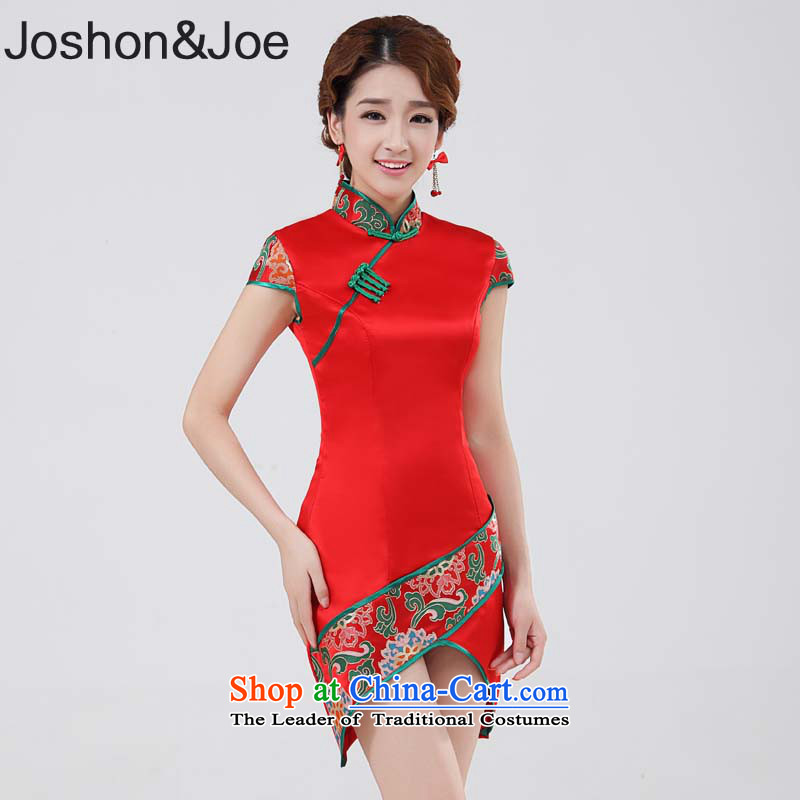 Joshon&joe wedding dresses bows services improved cheongsam embroidery flower bud before long after short package and the grand opening ceremony dress red�L