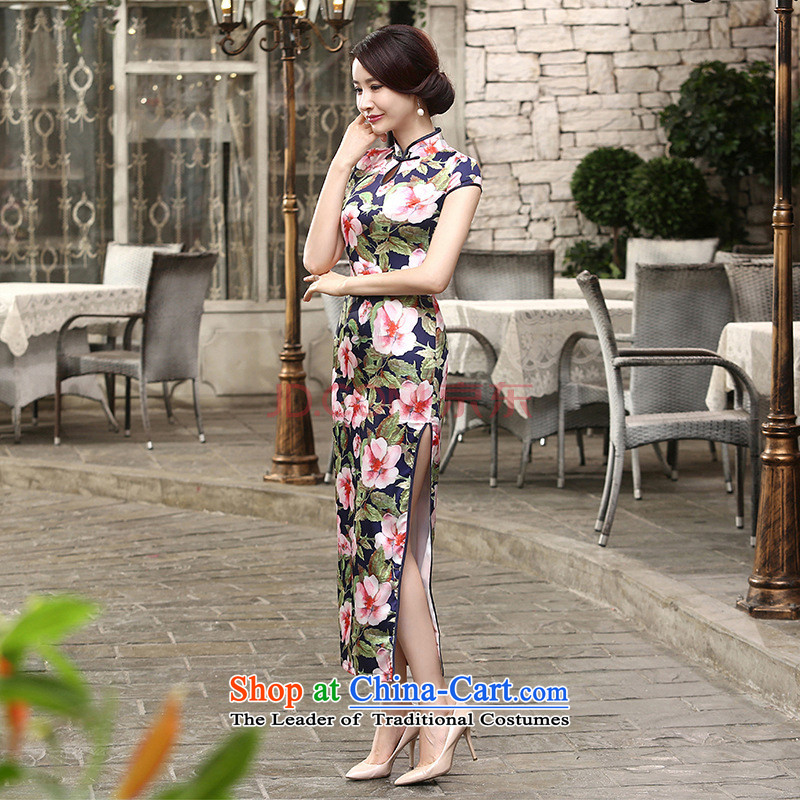 Min-to-day new Joseph retro silk dresses short-sleeved long double qipao Sau San聽C0018聽picture color聽S