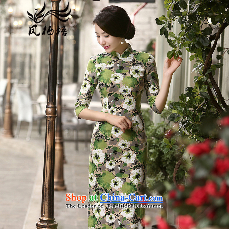 2015 Autumn 7475 migratory Bong-New_ cuff linen dresses retro Sau San long linen cheongsam dress DQ15175 SUIT燲XL