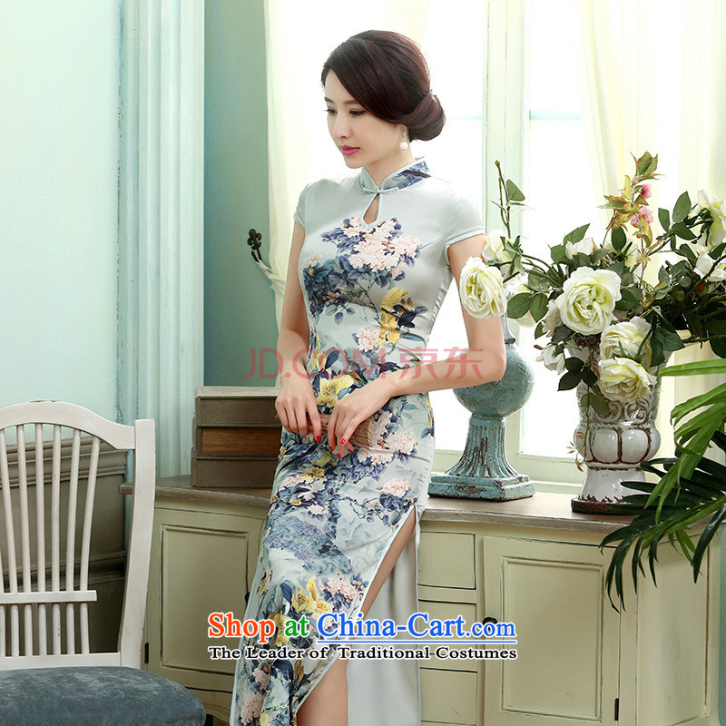 Min-to-day new Joseph retro silk dresses short-sleeved long double qipao Sau San聽C0017聽picture color聽XXL