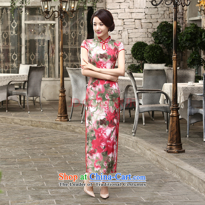 Min-to-day new Joseph retro silk dresses short-sleeved long double qipao Sau San聽C0016聽picture color聽XL