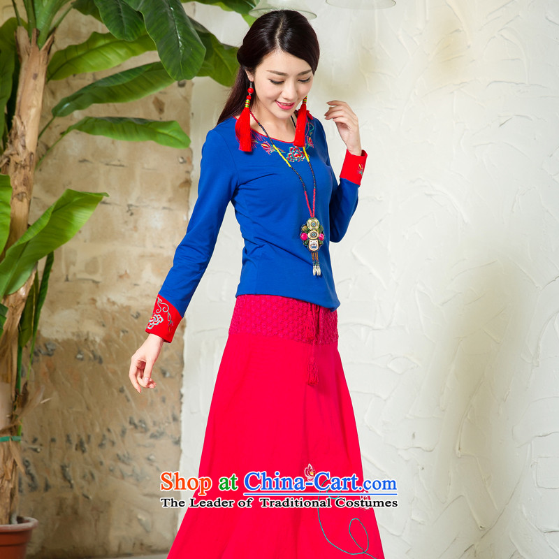 Cocoa street girls Tang dynasty women's dresses long-sleeved shirt skirts of ethnic + Skirts 2 kit ingratiating sub-blue T-shirt + Red Dress L