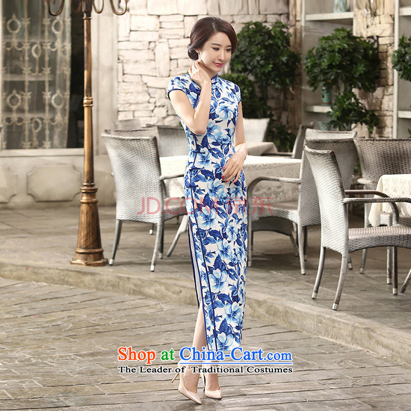 Min-to-day new Joseph retro silk dresses short-sleeved long double 10 Sau San tie long qipao?C0014?BLUE?L