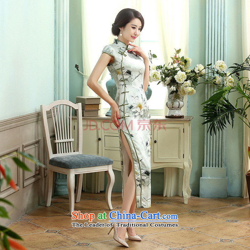 Min-to-day new Joseph retro silk dresses short-sleeved long double 10 Sau San tie long qipao聽C0013聽picture color聽M