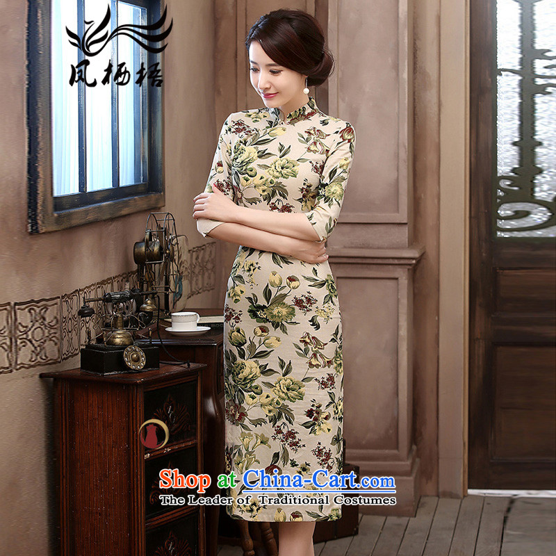 2015 Autumn 7475 migratory Bong-New) cuff linen dresses retro Sau San long linen cheongsam dress DQ15176 SUIT?XXL