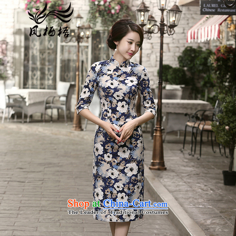 2015 Autumn 7475 migratory Bong-New) cuff linen dresses retro Sau San long linen cheongsam dress DQ15177 SUIT�S