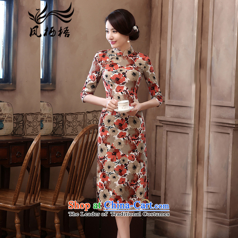 2015 Autumn 7475 migratory Bong-New_ cuff linen dresses retro Sau San long linen cheongsam dress DQ15178 SUIT燲L
