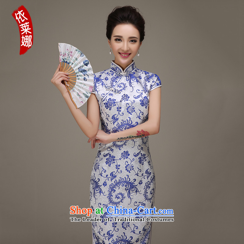 In accordance with the 2015 autumn and winter Lena autumn new cheongsam dress qipao improved daily, Chinese antique porcelain dresses long gown bows services qipao etiquette white燬
