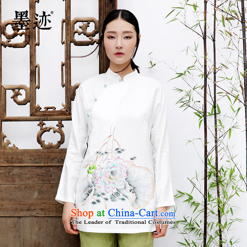 Install the latest Autumn 2015 ink supplies hand-painted lotus cotton linen clothes Tang Dynasty Chinese Han-female national wind, White?XL