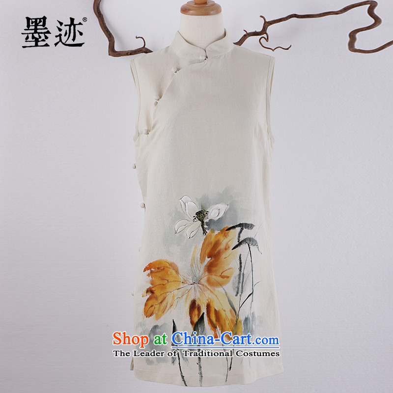 2015 Summer ink new products hand-painted the intuition of the Tang dynasty flowers on the Han-yi literary woman female light all Lotus燲L