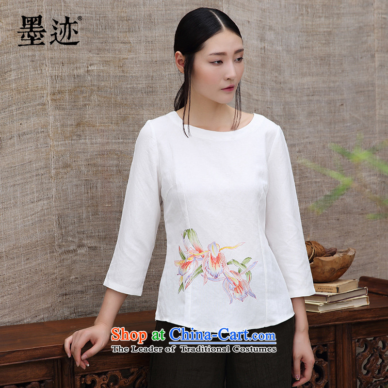 The original ink replace ethnic autumn cotton linen hand-painted Chinese long-sleeved T-shirt, forming the Han-female white?M