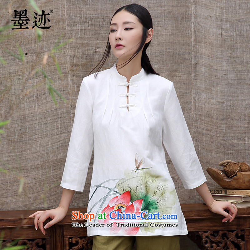 The intuition of the new ink autumn flowers cotton linen clothes Chinese Tang dynasty Han-long-sleeved Tea Arts female white燣 T-Shirt