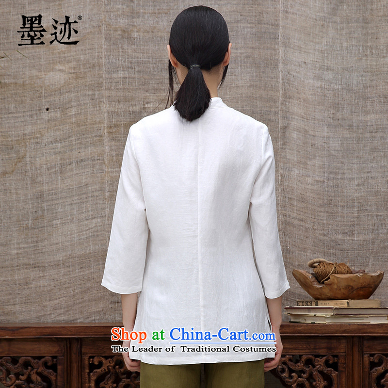 The intuition of the new ink autumn flowers cotton linen clothes Chinese Tang dynasty Han-long-sleeved Tea Arts female white T-shirt , L, ink has been pressed shopping on the Internet