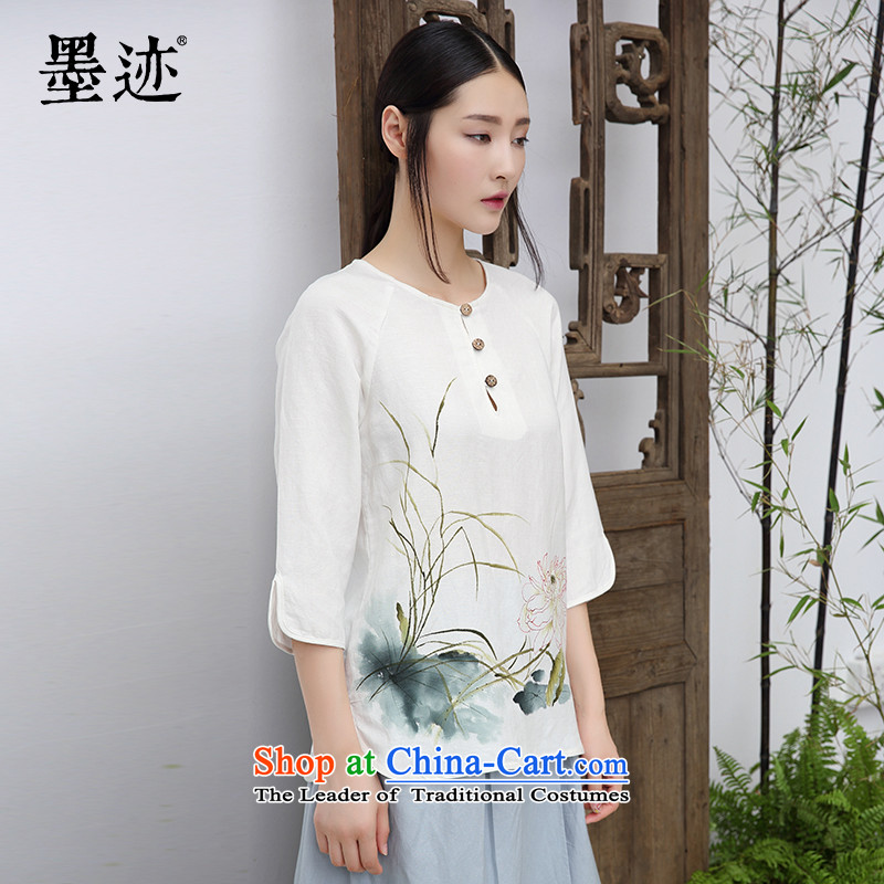 Replace the founding of autumn 2015 ink wind cotton linen hand-painted ladies casual relaxd cotton linen portrait master drawing literary arts rice white van燤
