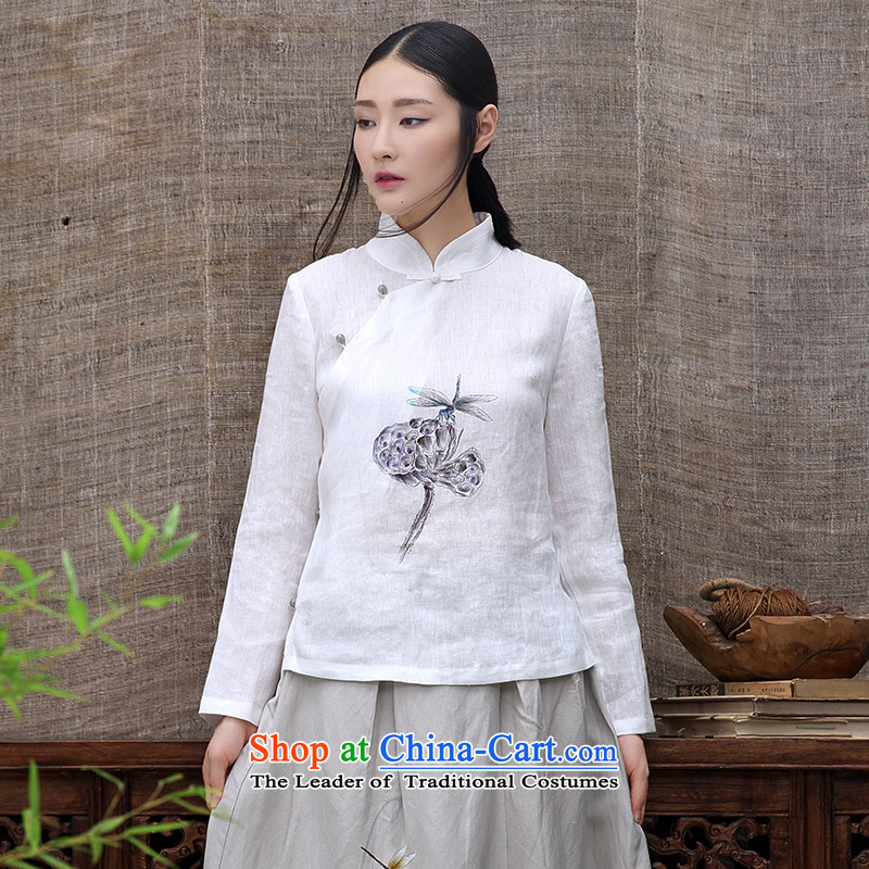 The original innovative products 2015 ink hand-painted lotus linen Tang casual Han-cotton linen ethnic long-sleeved shirt White XXL