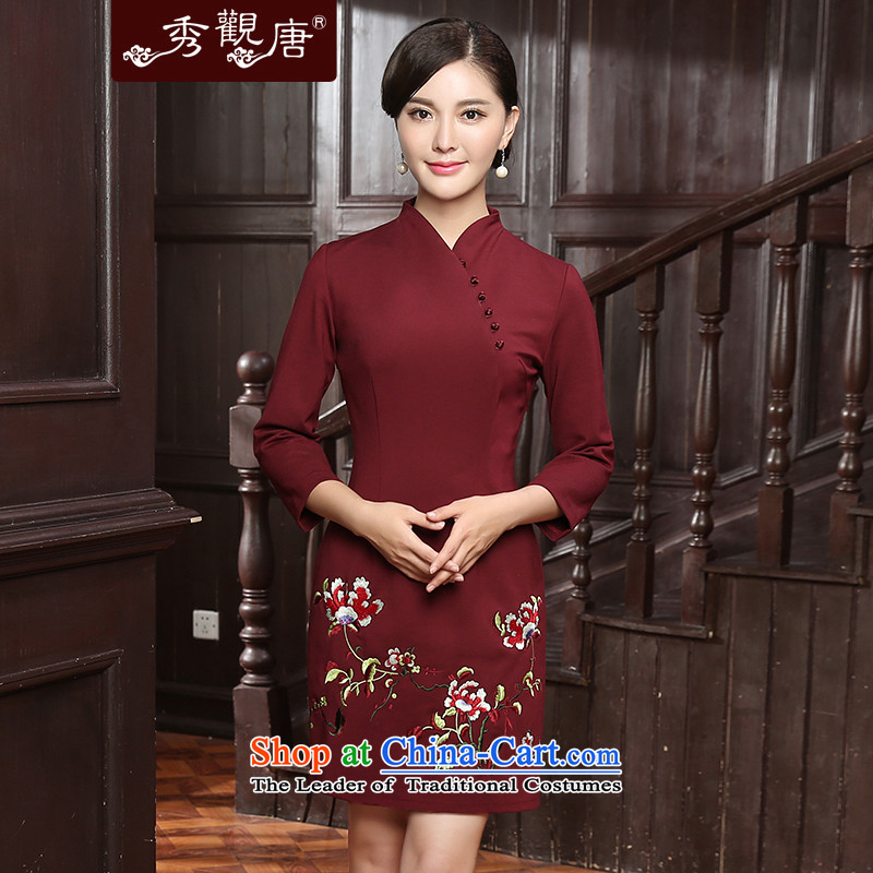 -Sau Kwun Tong- incense Overgrown Tomb new autumn 2015 section of fine embroidery warm. Ms. qipao QZ5809 cuff chestnut horses?XXL