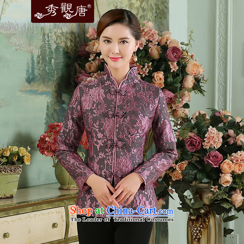 -Sau Kwun Tong- Zi Yu 2015 Autumn replacing the new President Tang Blouses Chinese improved long-sleeved shirts abounds short聽XXL
