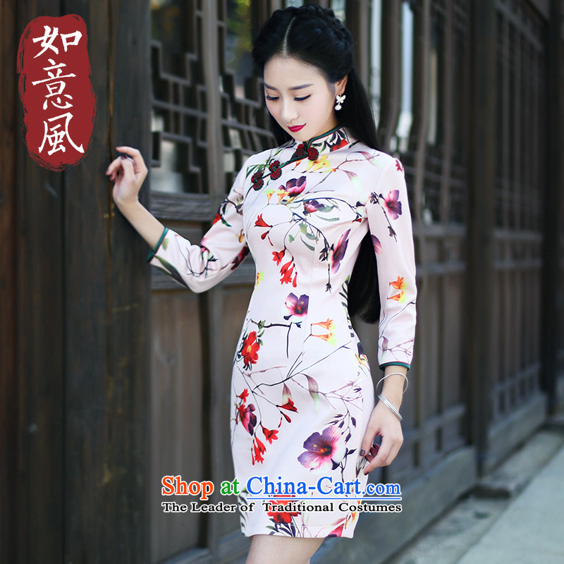After a new 2015 autumn wind load cheongsam dress in stylish retro qipao cuff everyday dress suit 6 019 6 019燤