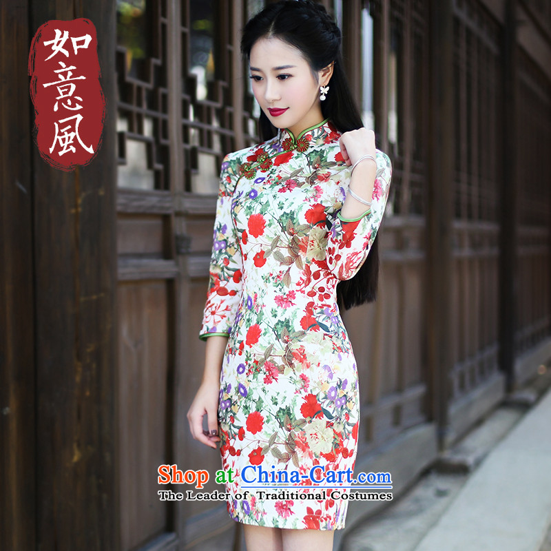 After a new wind loading in the autumn of 2015, retro look stylish improved cuff short of qipao improved skirt 6021 6021 suit燣