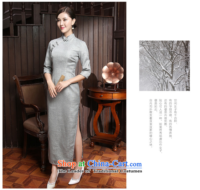 [Sau Kwun Tong] Mute Joseph New) Autumn 2015 Pure pigment ya long-sleeved qipao in two colors to gray聽XXL pictures, QZ5804 price, brand platters! The elections are supplied in the national character of distribution, so action, buy now enjoy more preferential! As soon as possible.