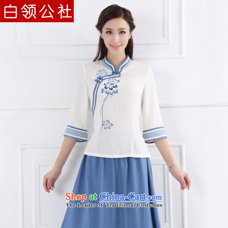 White-collar corporation ancient China wind retro women improved Han-Republic of Korea wind Chinese cotton linen Tang dynasty women clothes porcelain Blue M