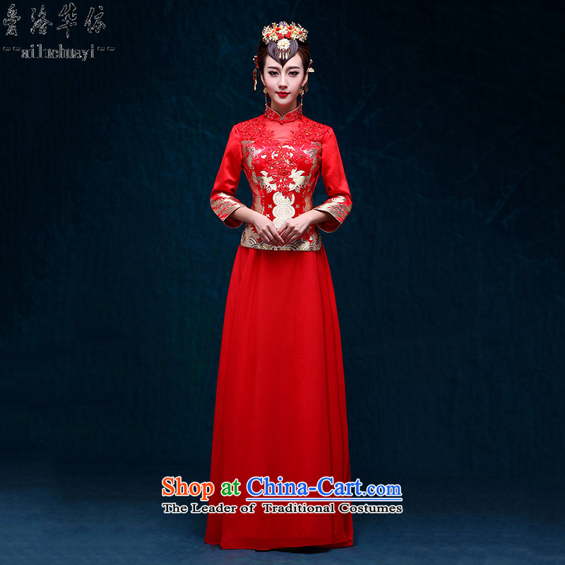 The bride-soo Wo Service retro red dragon and the use of the new Marriage autumn 2015 Chinese wedding gown banquet serving a seven-cuff bows Chinese qipao bows service improvement RED?M