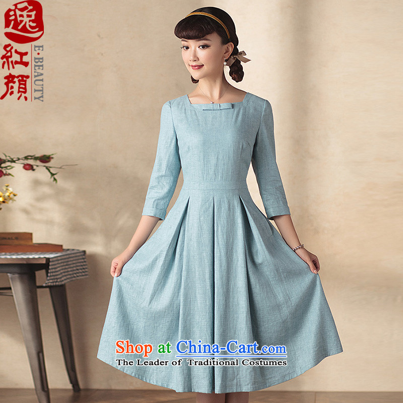 A Pinwheel Without Wind Yuen Ching Yat 7 cuff long autumn in replacing the skirt autumn 2015 new retro ethnic cheongsam dress blue-gray 3-day pre-sale燤