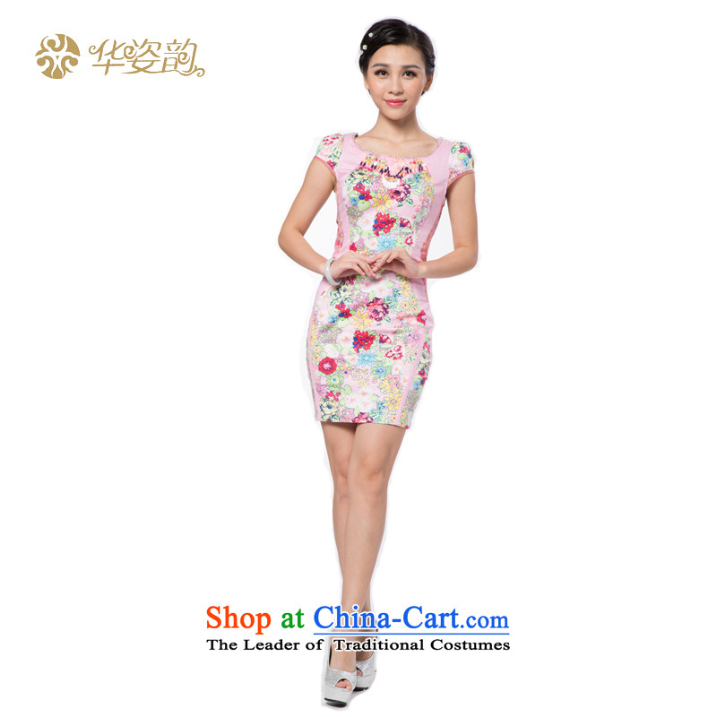 China following the new summer Amaral, short of qipao ladies of Sau San retro dresses Manon cheongsam dress Tang dynasty China wind graphics thin cheongsam dress Sau San new pink?L